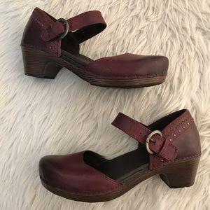 Dansko Burgundy Leather Mary Jane Clogs